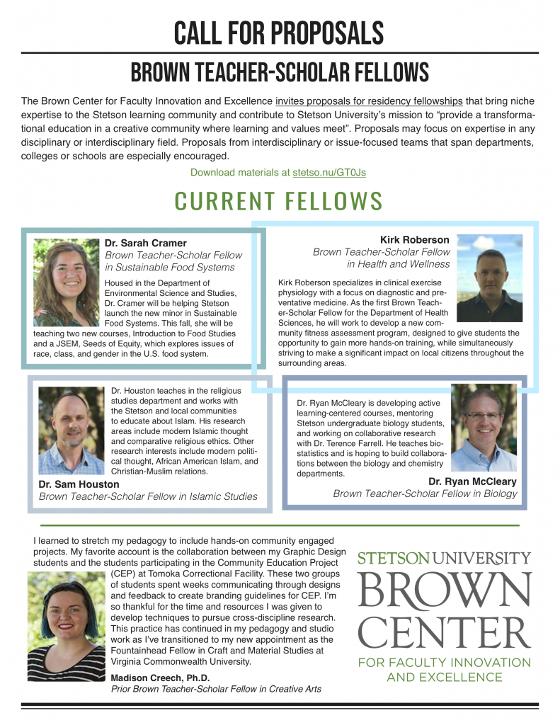 Brown Teacher-Scholar Fellow Call for Proposals